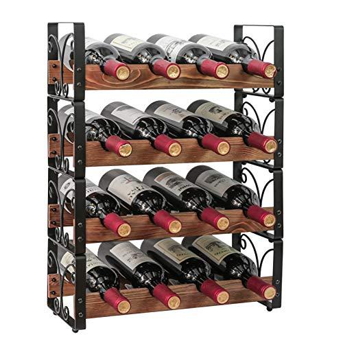 X-cosrack Rustic 16 Bottles Stackable Wine Rack 4 Tier Freestanding Organizer Holder Stand Countertop Liquor Storage Shelf Solid Wood & Iron 16.5' L x 7.0' W x 22' H-Patent Design