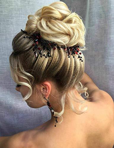 Anglacesmede Bruids Zwart Kristal Haar Pins en Oorbellen Zwart Rood Bruiloft Haarstukje Prom Party Festival Haaraccessoires voor Vrouwen en Meisjes Rood