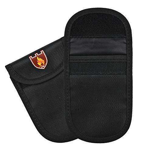 Irich 2 Stk Feuerfest Schlüsselmäppchen Autoschlüssel Signal Blocker Tasche, Schutz Autoschlüssel Hülle für Schlüssel Reisepass Bargeld Wertsachen Kreditkarten