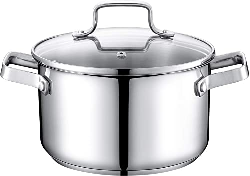 popular Stainless Steel high quality Stock Pot 3.5 Qt, outlet online sale Premium Soup Pot with Glass Lid, Scale Engraved Inside, Induction Compatible outlet sale