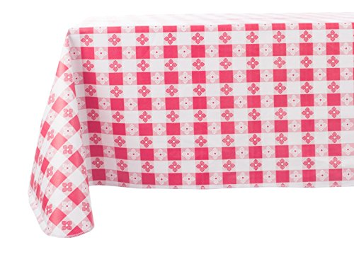Yourtablecloth Checkered Vinyl Tablecloth with Flannel Backing for Restaurants, Picnics, Bistros, Indoor and Outdoor Dining (Red and White, 52x52 Square)