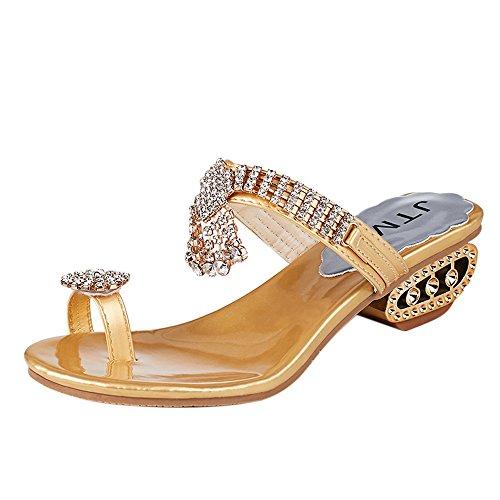 Deloito Damen Mode Sandalen Keile Flip Flops Elegante Pantoletten Strass Kristall Hausschuhe Freizeit High Heels Schuhe Sandalette (Gold,39 EU)