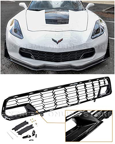 Extreme Online Store for 2014-2019 Chevrolet Corvette C7 Models with Front Camera | GM Factory Z06 Style Painted Carbon Flash Metallic Front Bumper Lower Grille Cover