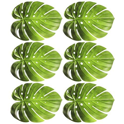 Hemoton 6 Unids Hojas de Palma Manteles Individuales Posavasos de Hojas Tropicales Artificiales Hojas de Safari de Imitación Alfombra de Mesa Decoración de Mesa