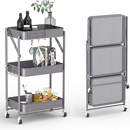 KINGRACK 3-Tier Free Assembly Rolling Cart, No Screw Installation Folding Metal Storage Push Cart, Utility Trolley Organizer with Extra Hooks for Kitchen, Home, Bedroom, Nursery, White