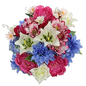 Admired By Nature GPB7315-ORCH/CM/BL 36 Stems Artificial Full Blooming Flowers, Orchid/Cream/Blue