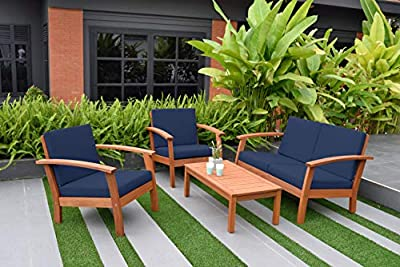 Amazonia Prescott Patio 4-Piece Conversation Set   Durable Eucalyptus with Natural Finish, Blue