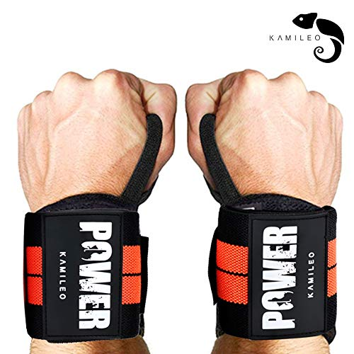 Kamileo Wrist Wraps with Thumb Loops for Powerlifting,Wrist Support, Weight Lifting Wraps, Weight Lifting, Xfit, Powerlifting, Strength Training,Bodybuilding