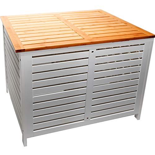 Limal Wäschesammler mit 2 Kammern Bambus Wäschekiste Wäschetruhe Wäschekorb mit Deckel weiß 60 x 70 x 55 cm - 2