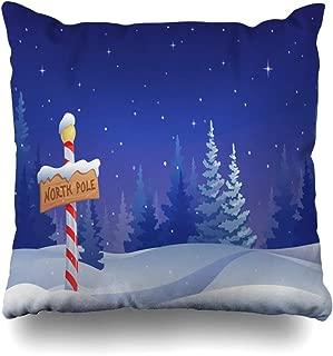 Ahawoso Throw Pillow Cover Blue Scene Christmas North Scenery Pole Holidays Snow Winter Snowy Season Decorative Pillowcase Square Size 16