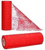 AmaCasa Vlies Tischläufer Rot 23cm/25 Meter Flower Vlies Tischband Hochzeit Kommunion