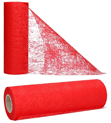 AmaCasa Chemin de Table Non tissé Courroie de Table Ruban de Table Non tissé Mariage Communion 23cm / 25m (Rouge)