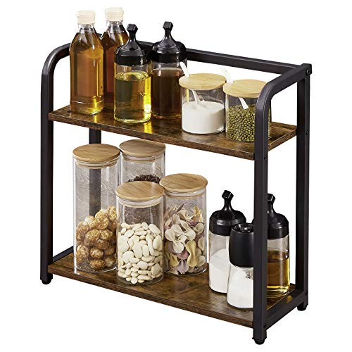 EKNITEY Spice Rack Organizer for Countertop - Bathroom counter Organizer, 2 Tier Small Spice Shelf, Standing Seasoning Rack, Wooden Tabletop Storage Shelves for Kitchen, Bathroom, Bedroom and Office (...