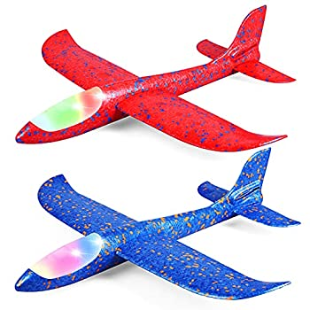 Toyly 2 Pack LED Airplane Toys,17.5  Large Throwing Foam Plane,2 Flight Mode Glider Plane,Outdoor Toy for Kids,Flying Toy for Kids,Gift Toys for Boys Girls 3 4 5 6 7 8 9 Year Old