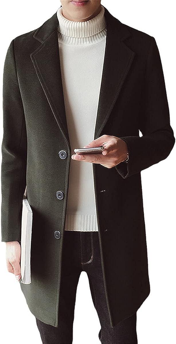 Autumn And Winter Men's Wool Blended Jacket Mid-Length Korean Style Slim Woolen Coat British Coat