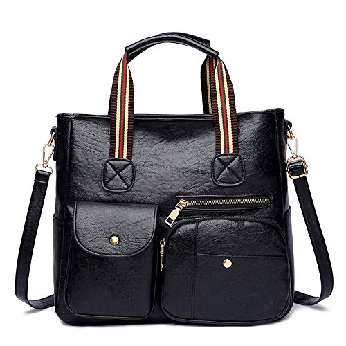 YIEBAI Autumn And Winter Pu Texture Temperament Handbag Tide Soft Leather Retro Simple Shoulder Bag Commuter Tote Bag Women,Black
