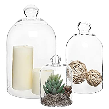 MyGift Set of 3 Decorative Clear Glass Apothecary Cloche Bell Jars / Centerpiece Dome Display