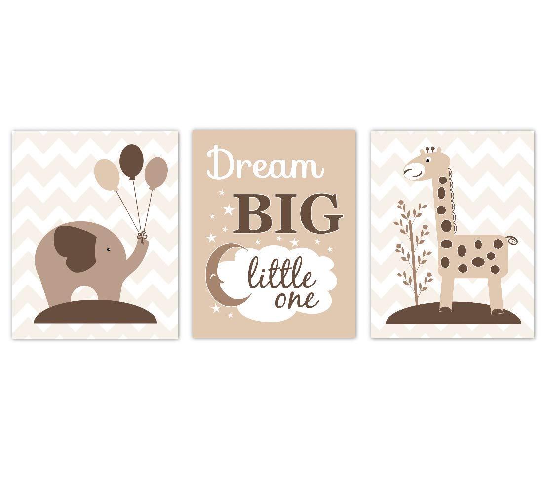 Baby Nursery Wall Art New life Brown Tan Elephant safety Big Dream Safar Giraffe