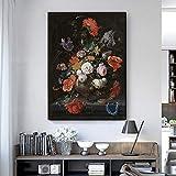YuanMinglu Rose Leinwand Wandkunst Poster drucken Klassische romantische Blume Ölgemälde Home Dekoration Poster Schlafzimmer Dekoration rahmenlose Malerei 60x80cm