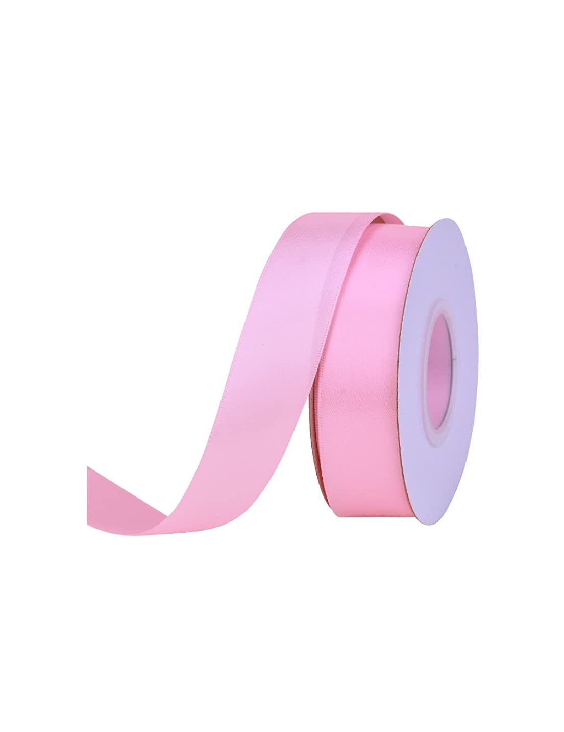 Ribest 1 inch Solid Double Face Satin Ribbon for Gift Wrapping and Bow Hair Accessories-25 Yards (Pearl Pink 123)