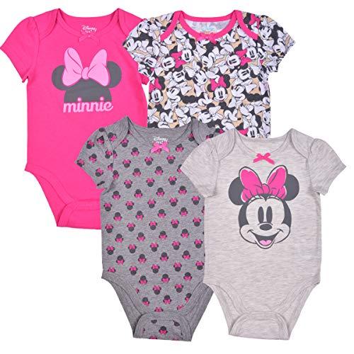 Disney Girl's 4-Pack Minnie Mouse Bodysuit Creeper Onesie Set, Pink/Grey, Size 3M