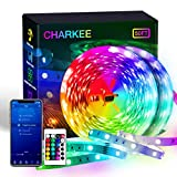 CHARKEE Led Strip Lights Smart 50ft, 2 Rolls of 25ft Color Changing Lighting with App Control and Remote, Led Lights Music Sync, Multicolor Led Light Strips for Bedroom, Room, Home Decoration