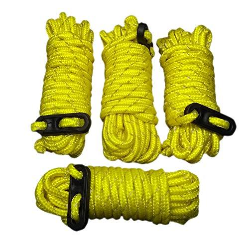 Cuerda para tienda de campaña de 4 mm de diámetro, 380 cm de largo, con tensor de tres agujeros, para camping, color amarillo, 8 unidades