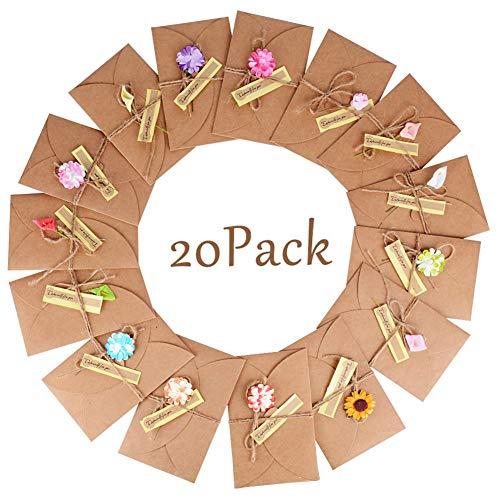 BETOY 20 Stück Grußkarte Karte Geburtstag Dankskarten Einladungskarte Geschenk Umschlag Retro Kraftpapier Karte und Umschlag Blanko mit Getrocknete Blumen für die Weihnachtsgrüße