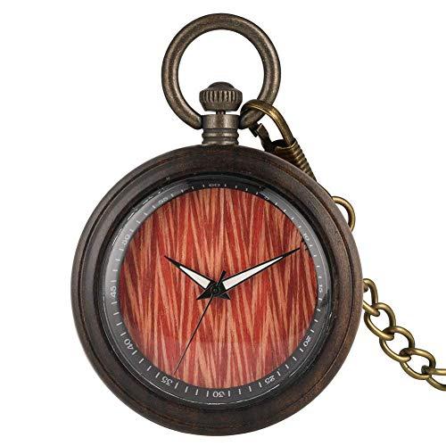 XYSQWZ Reloj De Bolsillo De Cuarzo De Moda para Hombres Prácticos Relojes De Bolsillo De Cadena Gruesa para Mujeres Reloj De Bolsillo De Madera Especial para Niño