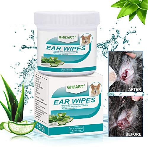 Toallitas de Aseo para Mascotas, Limpiador de Oídos para Perros y Gatos, 100 Piezas Toallitas Higiénicas para Perros, Cuidado Auditivo para Perros, Gatos y Otras mascotasLimpia