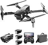 QqHAO GPS RC Drone con cámara Frontal 4K HD y cámara de posicionamiento de Flujo óptico 720P 5G WiFi FPV Motor sin escobillas Drone Modo sin Cabeza Sígueme RC Quadcopter con 3 baterías y Bolso