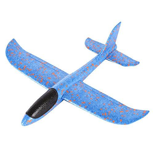 Kinder Schaum Flugzeug, Manuelles Wurfgleiter Modell Styropor Flugzeug Outdoor Sport Spielzeug Geschenk für Kinder Party Bevorzugungen (Blau)