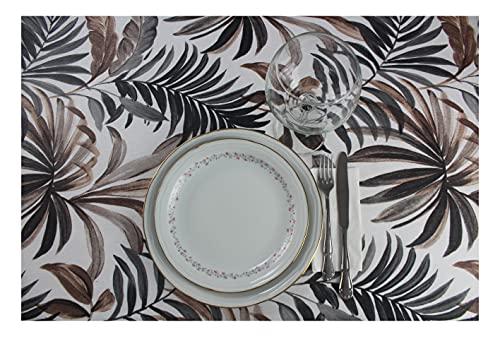 Mantel Antimanchas Rectangular - Cuadrado. Mantel Antimanchas Estampado, Impermeable, Flexible y Lavable al Corte (Chocolate Hawai, 140x200 cm)