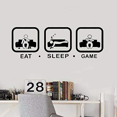 WERWN Eat Sleep Game calcomanías de Pared para niños Dormitorio Personalizado Durmiente Interior Mural Vinilo Arte de la Pared Pegatinas decoración del hogar