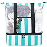 BTOOP Beach Bag with Detachable Cooler Top Zipper Mesh Beach Tote for Women Insulated Cooler Pool Bag