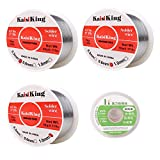Kaisiking 63-37 0.3mm 0.6mm 1.0mm/50g Tin Lead Solder Wire Set, Rosin Core Solder Wire with Solder Wick for Electrical Soldering and DIY
