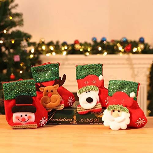TOYESS Calza di Natale,Sacchetto Porta Caramelle,Borsa Regalo di Natale,Santa, Renne, Snowman 3D Character Natalizio da Appendere