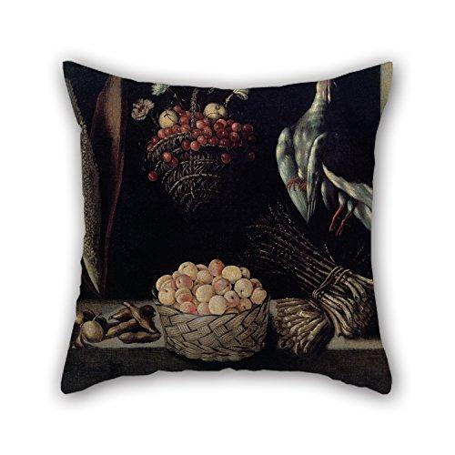 18 X 18 Inches / 45 By 45 Cm olieverfschilderij Anonieme Madrid schilder - Fruitschaal met een mand van kersen en een mand van abrikozen kussenslopen beide zijden is geschikt voor Gf woonkamer jongens vloer thuis