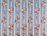 Melody Jane Casa de Muñecas Miniatura Impresión 1:12 Escala Rosa en Azul Papel Pintado Rayas
