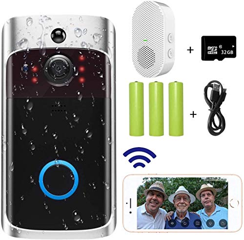 Video Türkamera-Wi-Fi Mit Smart PIR-Bewegungsmelder, Nachtsicht, Real-Time-Benachrichtigung, Zweiweggespräch, Weitwinkel, 32 GB SD-Karte Ist Enthalten Einfache Installation