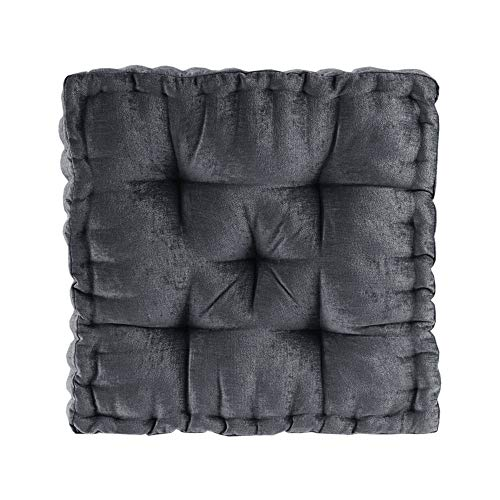 "Intelligent Design Azza Floor Pillow Square Pouf Chenille Tufted with Scalloped Edge Design Hypoallergenic Bench/Chair Cushion, 20""x20""x5"", Charcoal"