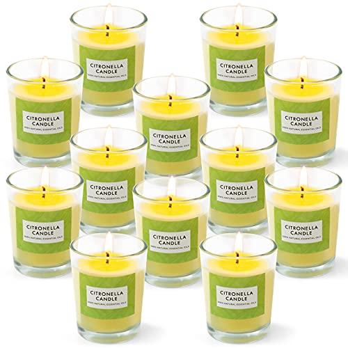 LA BELLEFÉE Citronella Kerze, Zitronengras Duftkerzen im Glas Aromatherapy Sojawachs Kerzen für Indoor und Outdoor, 12 Stück