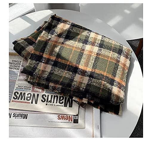 UKKO Bufanda de cachemira bufanda de cuello caliente bufanda a cuadros bufanda de lujo manta invierno bufanda bufanda de cachemira-A
