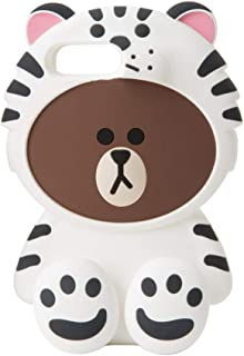 LINE FRIENDS Phone Case - Snow Brown Character Design Protective iPhone 7 Plus Compatible Silicone Case, White/Brown