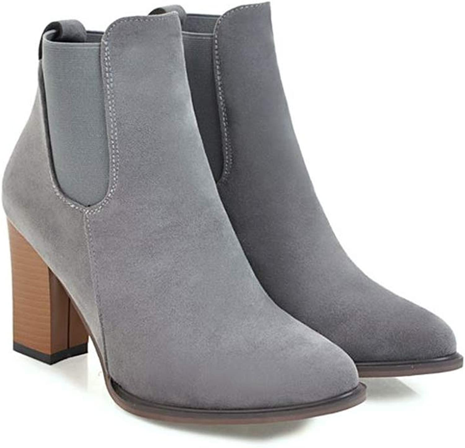 Set adil Women's Suede Chunky Heel Ankle Boot