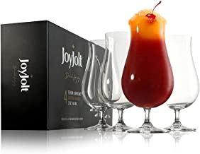 JoyJolt Terran Pina Colada Glasses - Premium Hurricane Cocktail Glasses Made in Europe - 21 oz / 660 ml Crystal Drinking S...