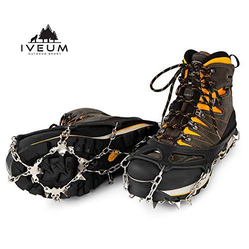 IVEUM Steigeisen für Bergschuhe - hochwertige Spikes für Schuhe in Größe 34-47 - Optimaler Halt zu jeder Situation im Winter - Grödel für den Winter - M
