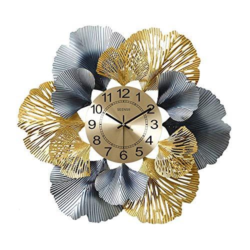 ZHENAO Reloj de Pared de Obra Pared Del Metal Arte de la Pared, Hierro Forjado Hoja Del Ginkgo Decoraciones de Cuarzo Mudo Precisión Relojes para Sala de Estar Oficina Creativo Scul