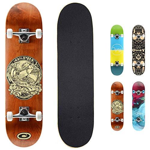 Osprey Komplettes Skateboard, Double Kick Trickboard für Erwachsene, Kinder und Jugendliche, mehrere Designs