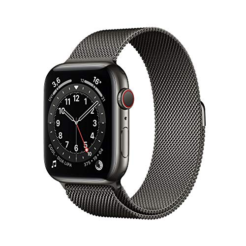 AppleWatch Series6 (GPS+ Cellular, 44mm) Edelstahlgehäuse Graphit, Milanaise Armband Graphit